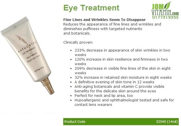 enfuselle shaklee skincare eye treatment jerawat jeragat kulit glowing kulit putih bengkak bawah mata mata lebam jomvitamin 0177319335