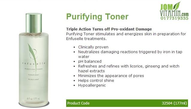 enfuselle shaklee skincare purifying toner jerawat jeragat kulit glowing kulit putih jomvitamin 0177319335