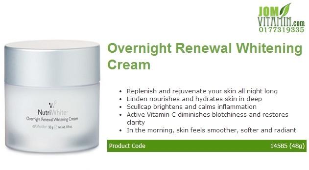 nutriwhite shaklee skincare overnight renewal whitening cream jerawat jeragat kulit glowing krim malam shaklee jomvitamin 0177319335