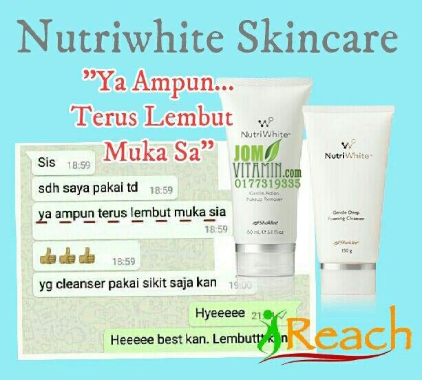 testimoni skincare shaklee nutriwhite kulit jeragat jerawat parut untuk kulit glowing cantik 0177319335 jomvitamin